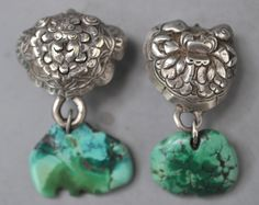 Silver and turquoise earrings, Mongolian and Tibetan turquoise. (designed by and private collection of Linda Pastorino)