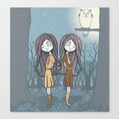 The Twins and the Owl Stretched Canvas by Lindha - $85.00