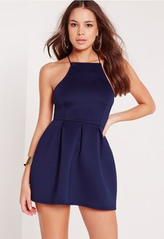 Get your style fix this season in some fresh new threads from missguided. This Skater style mini dress with square neck line and black elasticated straps is our current fave right now. In a smokin' hot navy shade this one will look perfect ...