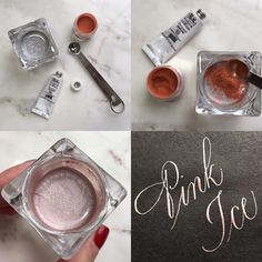 pink ice ink mixture with gouache, rose gold pearl ex and gum arabic