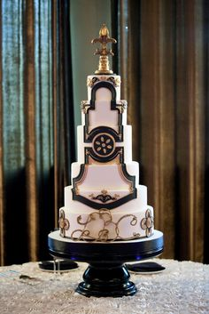White, Black and Gold cake