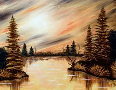We host painting events at local bars. Come join us for a Paint Nite Party! Watercolor Landscape, Landscape Art, Landscape Paintings, Nature Paintings, Beautiful Paintings, Art Paintings, Pictures To Paint, Art Pictures, Painting & Drawing