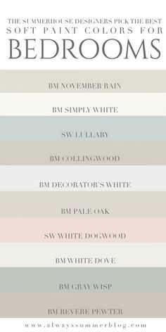 The SummerHouse designers weigh in on their favorite light paint colors for bedr. - The SummerHouse designers weigh in on their favorite light paint colors for bedrooms // alwayssumme - Best Bedroom Paint Colors, Interior Paint Colors, Paint Colors For Home, Interior Design, Colors For Master Bedroom, Room Interior, Master Bedrooms, Interior Doors, Interior Ideas