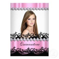 Quinceanera 15th Pink Black White Lace Photo