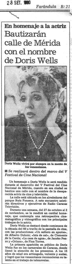 Calle de Mérida con el nombre Doris Wells. Publicado el 28 de septiembre de 1990.