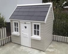 Childrens playhouse with slate roof Outside Playhouse, Garden Playhouse, Build A Playhouse, Playhouse Outdoor, Painted Playhouse, Garden Toys, Childrens Playhouse, Girls Playhouse, Wendy House