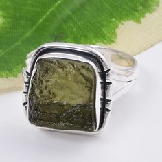 925 SOLID STERLING SILVER EXCLUSIVE MOLDAVITE EXCLUSIVE RING 4.51g DJR5234 #Handmade #Ring