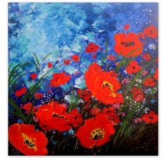 Original Acrylic Painting-Poppy Field 5 -Floral Abstract Painting-Poppy Painting-Red Flowers-Custom-MADE TO ORDER-Modern Painting by ArtSunday on Etsy