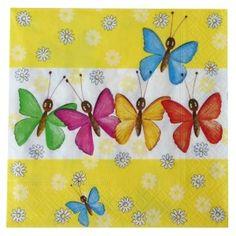 20 Serviettes Papillons 33 x 33 cm