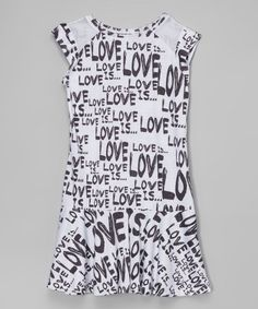 This White & Black 'Love' Sleeveless Dress - Girls by Citi Life Kids is perfect! #zulilyfinds