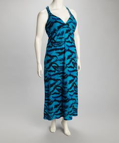 Take a look at this Blue & Black Zebra Maxi Dress - Plus by Extra Touch on #zulily today! $16.99, regular 36.00