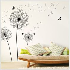 New Design Large Black Dandelion Wall Sticker Art Decals PVC Wall Decoration Happy Gift High Quality PVC Home Decor - € 4,23