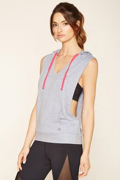 A sleeveless heathered knit hoodie featuring a V-neckline, a drawstring hood, dropped armholes, and a front kangaroo pocket.