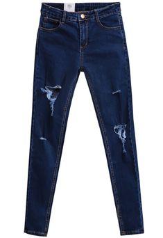 17.33 Blue Pockets Cut Ripped Denim Pant