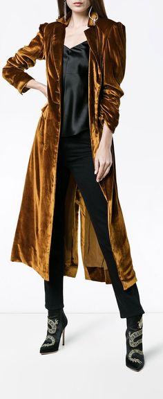 De La Vali Long Collared Velvet Coat with Buttons