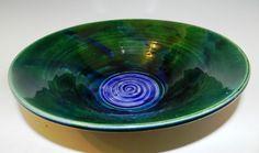 Bluegreen vortex bowl ceramic wheel thrown by MarkCampbellCeramics, $30.00