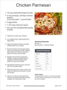 Skinny Slow Cooker Recipes Chicken Parmesan Sample Recipe Page
