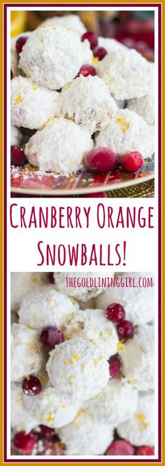 Classic snowball cookies, but with dried cranberries and orange zest for a fun makeover. These Cranberry Orange Snowballs have Christmas and holiday celebrations written all over them. Cookie Desserts, Holiday Cookies, Christmas Desserts, Christmas Baking, Easy Desserts, Cookie Recipes, Delicious Desserts, Dessert Recipes, Christmas Foods