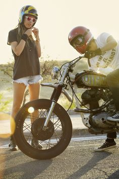#Woman and #biker with #motorcycle #eatsleepride app.eatsleepride.com