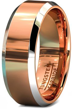 Mens Wedding Bands Two Toned Rose Gold Tungsten Ring Flat Top and Beveled Edges *** Review more details here : Gift for Guys