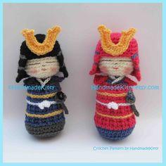 HandmadeKitty: Samurai Kokeshi Amigurumi PDF Crochet Pattern by HandmadeKitty