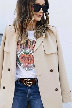 #spring #outfits white tshirt, jeans, beige long coat