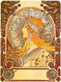 Mystical Art Nouveau Vintage Alphonse Mucha by RareVintagePatterns