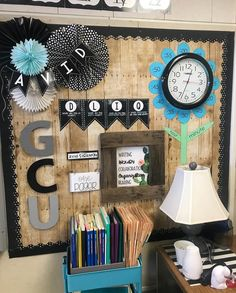 Something like this but with ur colors and minus the lamp etc Classroom Walls, New Classroom, Classroom Design, Kindergarten Classroom, Classroom Themes, Classroom Wall Decor, Middle School Decor, Middle School Classroom, Diy Classroom Decorations