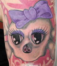 Girly Skull Tattoos Presently It Appears That Young Ladies Became Feminine Skull Tattoos, Sugar Skull Tattoos, I Tattoo, Cool Tattoos, Tatoos, Awesome Tattoos, Hello Kitty Tattoos, Skull And Crossbones, Tattoo Designs
