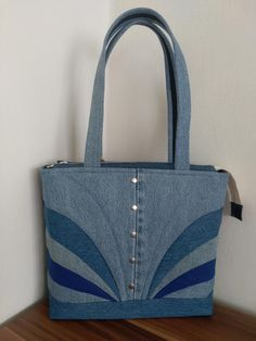 Embroidered denim bag Jeans bag with ribbons embroidered Recycled fabric sac Summer floral purse Shoulder bagful Eco friendly tote bag Patchwork Bags, Quilted Bag, Bag Quilt, Types Of Purses, Denim Handbags, Tote Handbags, Denim Crafts, Recycled Denim, Recycled Fabric