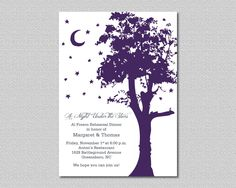 Printable - A Night Under the Stars - Outdoor Party - Al Fresco Rehearsal Dinner Invitation #gardenPartyInvitation rustic outdoor al fresco moon and stars evening night under the stars prom rehearsal dinner wedding garden tree purple and gray 15.00 USD maddieandmarry