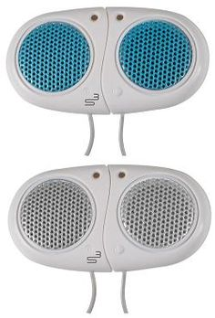 Personal Speakers - newly-designed ultra-lightweight MP3 or iPod speakers made especially for any activity outdoors where you want to listen to your favorite music and be more aware of your surroundings than if you were wearing headphones or ear buds.
