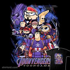 Cartoon Mashup T-Shirt by PrimePremne. Show everyone that you are a fan of Cartoon Mashup with this Avengers: Endgame parody t-shirt. Avengers Cartoon, Marvel Funny, Marvel Memes, Funny Comics, Marvel Avengers, Marvel Comics, Anime Crossover, Desenhos Cartoon Network, Villainous Cartoon