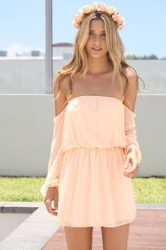 peach off-the shoulder dress #girly