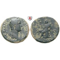 Römische Kaiserzeit, Hadrianus, As 134-138, ss: Hadrianus 117-138. Kupfer-As 27 mm 134-138 Rom. Drapierte Büste r. mit Lorbeerkranz… #coins