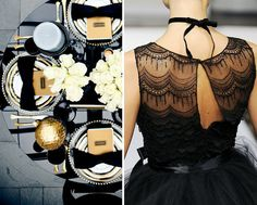 black, white, and gold wedding