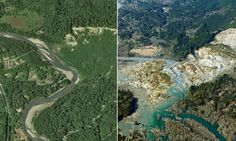 Before and after shots of devastation caused by the the Oso, Washington landslide March 22, 2014