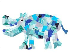 torn paper animals - monochromatic style