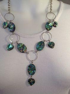 Medium length gemstone necklace, Paua abalone shell ovals and hearts - Michela Rae
