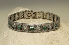 Vintage Antique Edwardian Art Deco sterling silver emerald crystal pierced filigree hinged panel bracelet