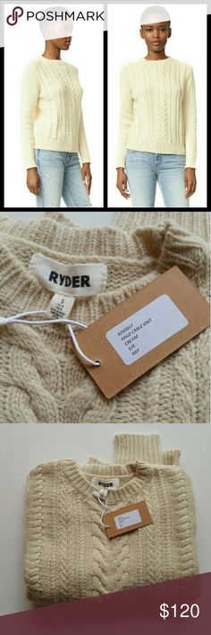 """Ryder Milo Cable knit Sweater size S NWT Length 23"""" Ryder Sweaters"""