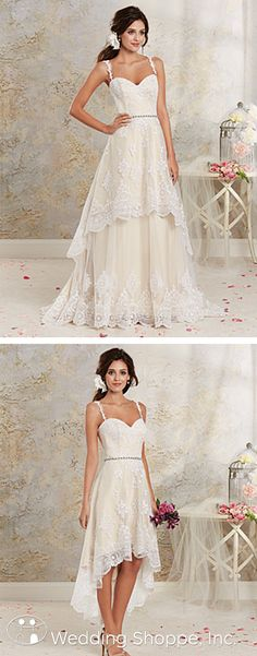 A delicately romantic lace wedding dress featuring a tiered hi-low hemline and detachable, full-length skirt.