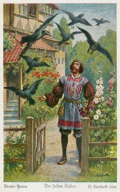 Die sieben Raben, Illustration von Oskar Herrfurth - The Seven Ravens