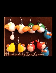 Polymer clay angry birds earrings