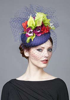 Rachel Trevor Morgan Millinery | Spring Summer 2017 | R1793 Royal blue silk pillbox with coloured flowers