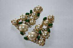 Vintage Earrings Carnegie KJL Pearl Rhinestone Jade by patwatty, $60.00