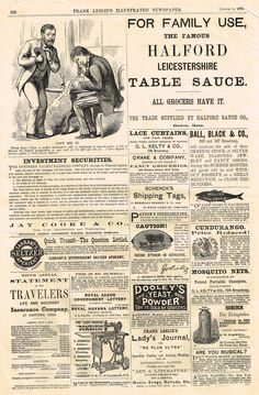 Leslie's Illustrated Newspaper - 1872 - MANY ADVERTISEMENTS OF THE DAY