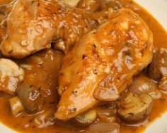 The cool thing about Chicken Chasseur is that it's made in a Dutch Oven. The only reason the sauce and chicken comes out like this is because of it. Here