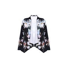 Genuine People JD Floral Kimono Jacket ($29) ❤ liked on Polyvore featuring outerwear, jackets, kimono, black, black jacket, black floral kimono, leather jacket and black kimono jacket
