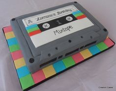 80's inspired cassette tape cake!  www.creationcakes.org.uk